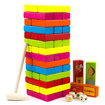 Tumbling Tower Stacking Game - Colored Wooden Block with Animals - Educational and Fun Building Blocks for Kids, Adults, and Toddlers - Tumbling Timber Tower - Wood Family Games - 54pcs by Toysery: Toys & Games