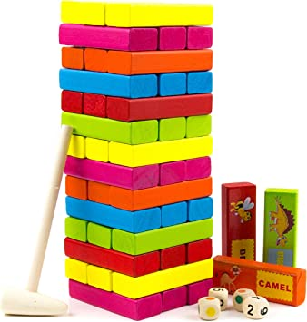Wooden Stacking Toys Building Blocks 54 Pieces for Kids 3 4 5 Years