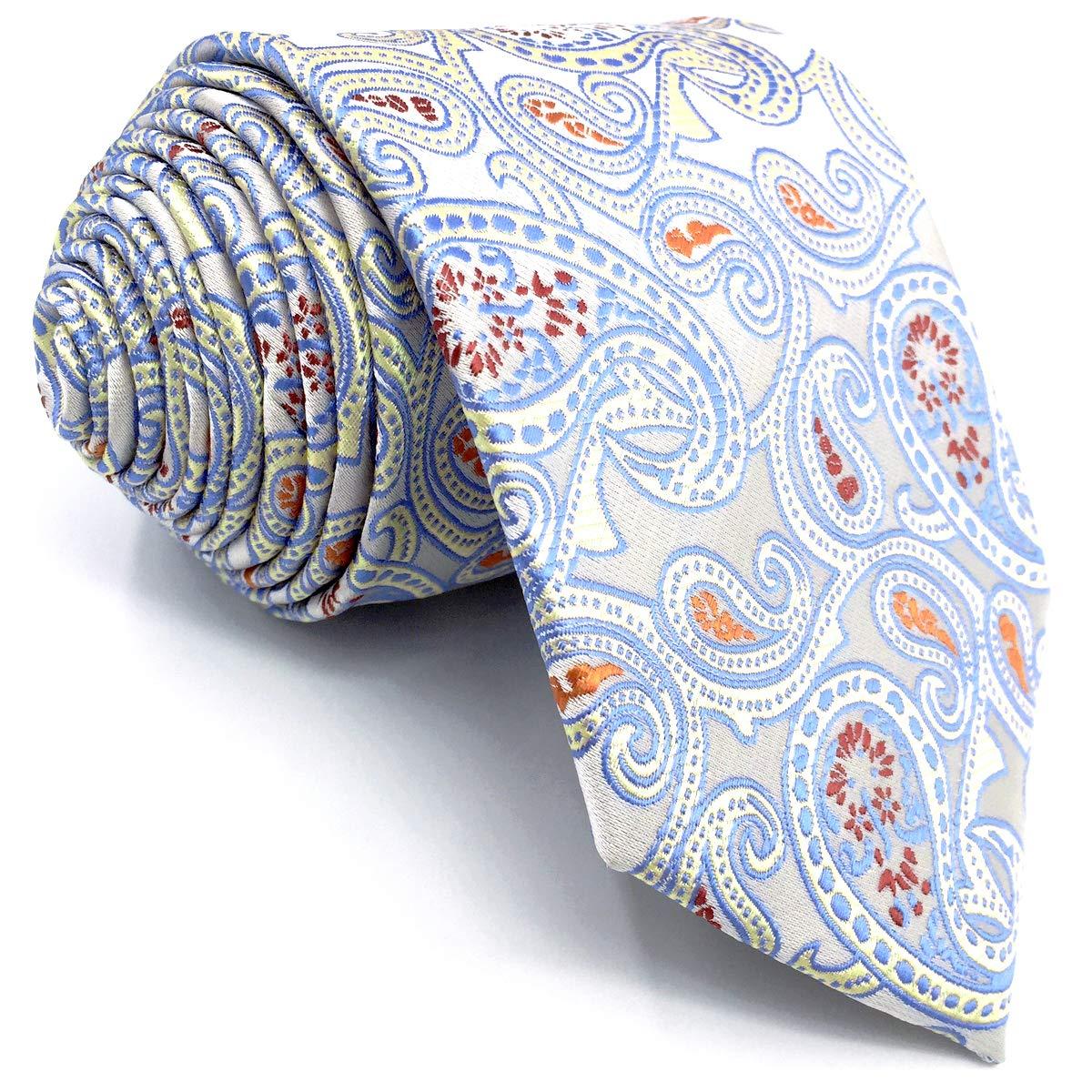 SHLAX&WING Marfil Azul Corbatas Para Hombre Cachemir Nuevo Designe ...