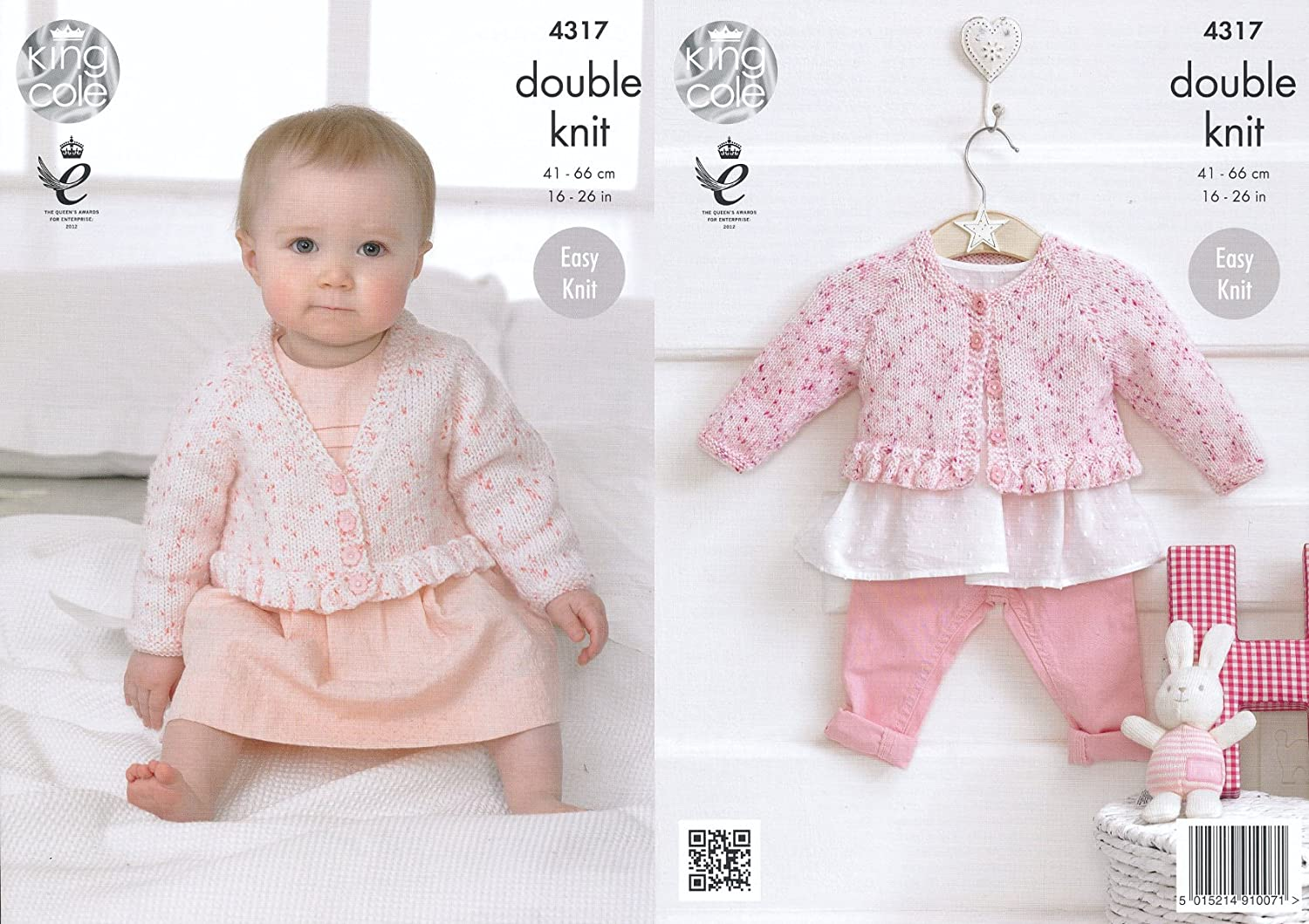 King Cole Double Knitting Pattern Baby V or Round Neck Cardigans Easy Knit Smarty DK (4317)