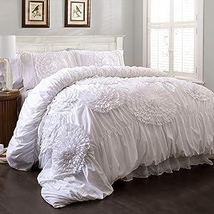 Lush Decor Serena Comforter Ruched Flower 3 Piece Set, King, White