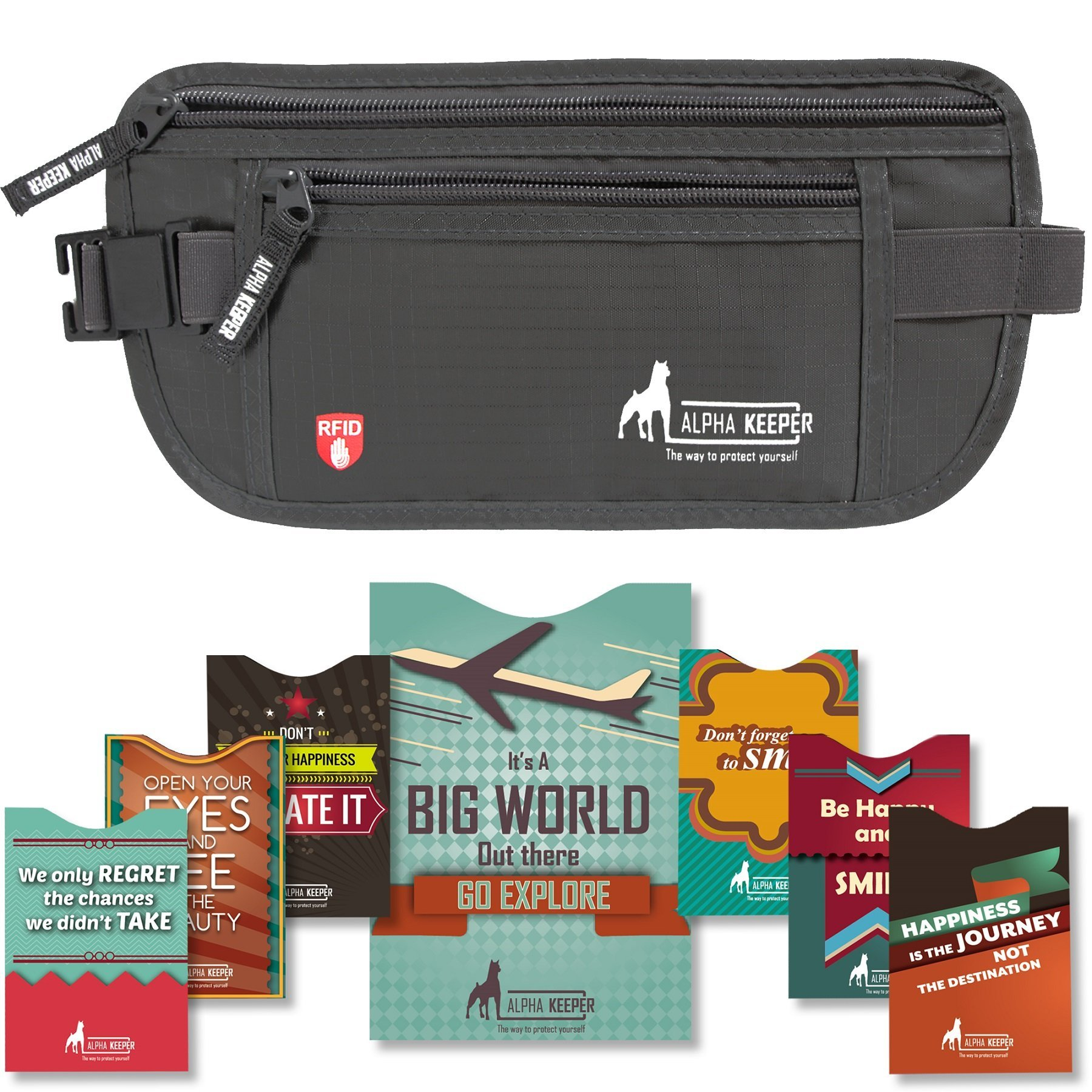 RFID Money Belt For Travel With RFID Blocking Sleeves Set For Daily Use by Alpha Keeper