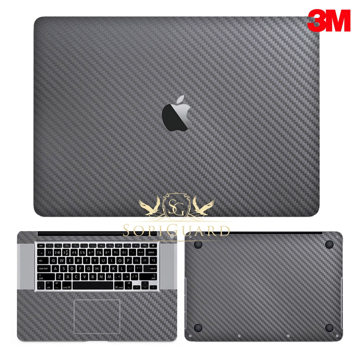 SopiGuard 3M Gunmetal Gray Carbon Fiber Precision Edge-to-Edge Coverage Vinyl Sticker Skin for Apple Macbook Pro 15 Non Retina (A1286)