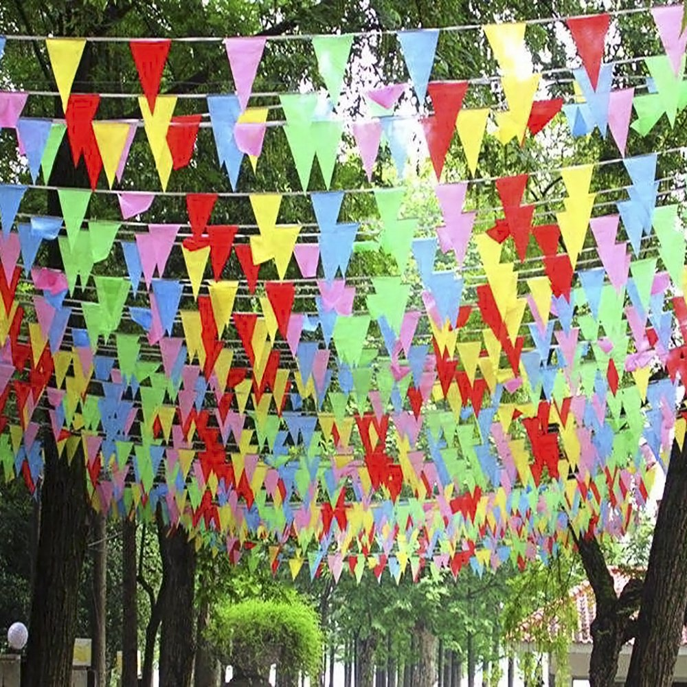 Colorful Pennant Banner Flags,328 Ft Long Plastic Pennant Party ...