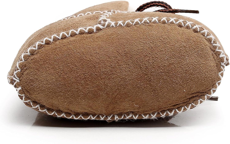 Infants Warm Fur Wool Girls Baby Plush Boots Leather Boy Shoes HONGTEYA Sheepskin Fleece Baby Bootie
