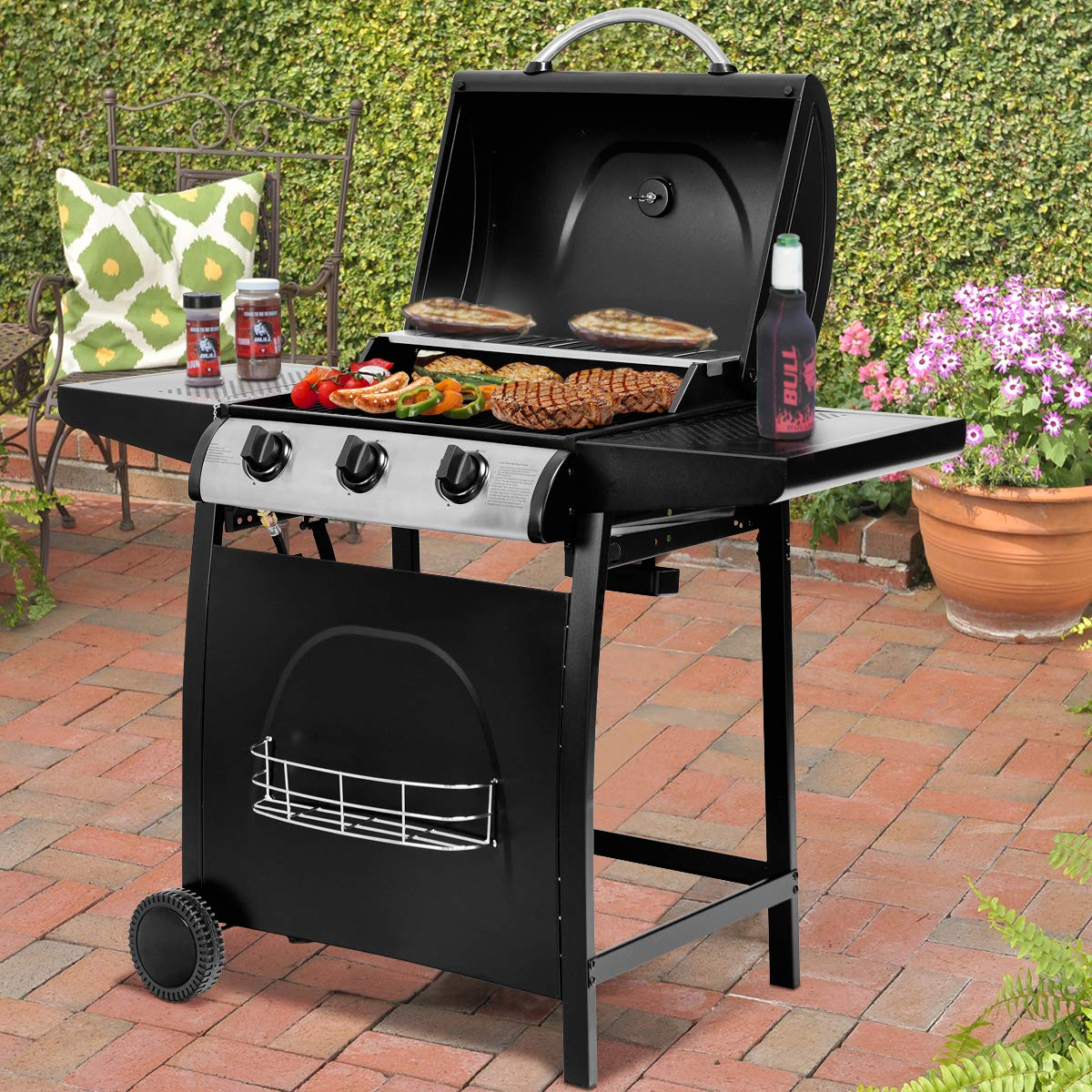Giantex BBQ Propane Gas Grill Cart 3-Burner Outdoor Camping Cooking, 30000BTU with Hose Valve Side Table Auto Ignition, Best 430 Stainless Steel Gas Grills W Thermometer Wheels, Black Black