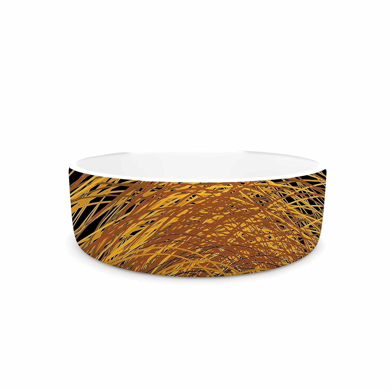 KESS InHouse Maria Bazarova Hay  gold Black Pet Bowl, 7