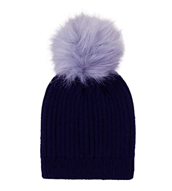b476b3b05 Childrens Boys Girls Ribbed Chunky Beanie Bobble Hat with Detachable  Changeable Faux Fur Pom Pom