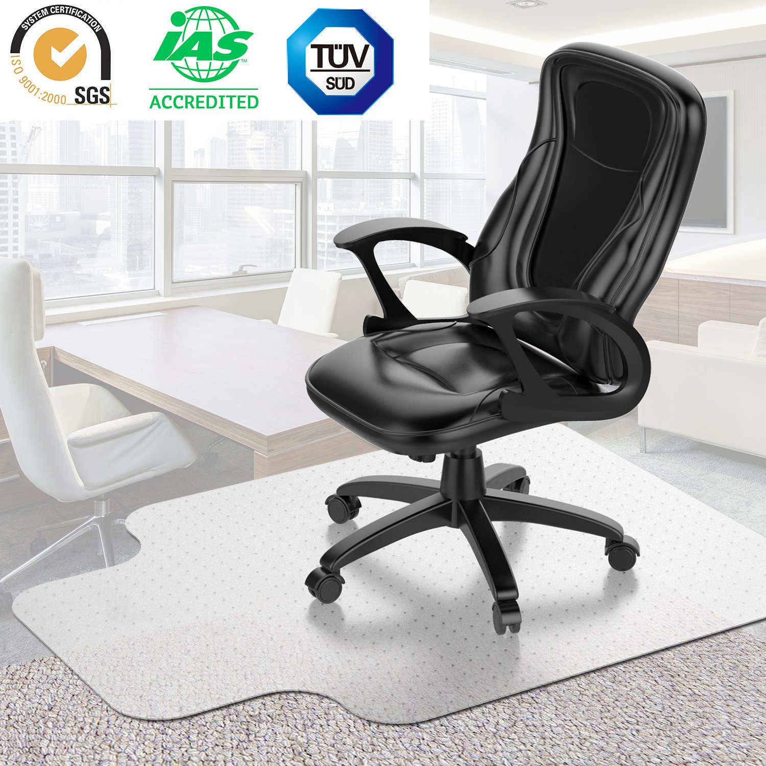 Desk Chair Mat for Carpet - Vinyl Floor Protector for Low-Pile Carpets,Non-Slip Bottom | Home, Office, Computer