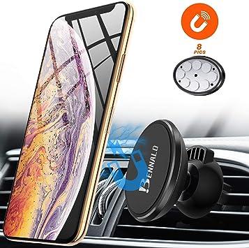 Soporte Móvil Coche Magnético, Porta Movil Para Coche Soporte Telefono Coche Smartphone Coche Adaptador GPS 360° Rotación para iPhone X/8/8 Plus/7/7 Plus, Samsung S10 Note 9 S9/S9 Plus/S8/S8 Plus: Amazon.es: Electrónica