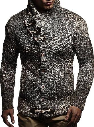 c69e66f54a29 LEIF NELSON Herren Strickjacke Pullover Hoodie Sweatshirt Longsleeve  Winterjacke Pulli Sweater Langarm  Amazon.de  Bekleidung