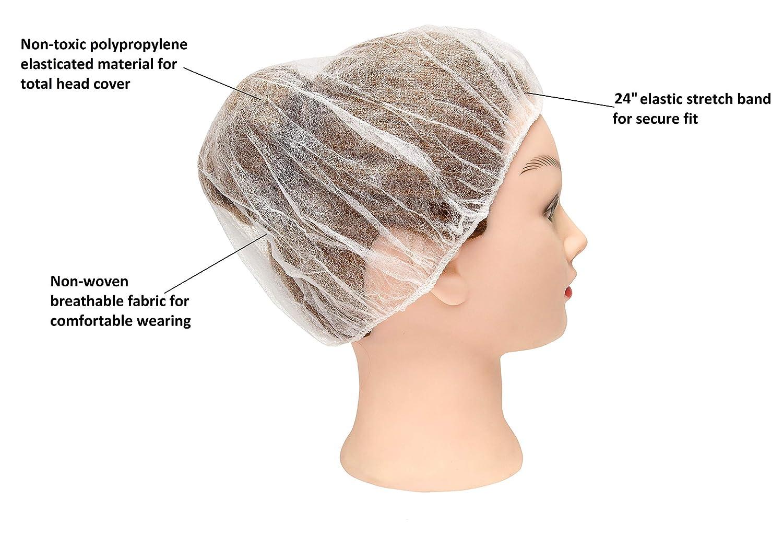 Atmungsaktiv elastisch Einwegm/ützen aus Polypropylen Unisex Haarschutzhauben f/ür Lebensmitteldienst leicht Medizinprodukt elastisch 100 St/ück wei/ße Bouffant Caps 61 cm Haarkappen 10 g