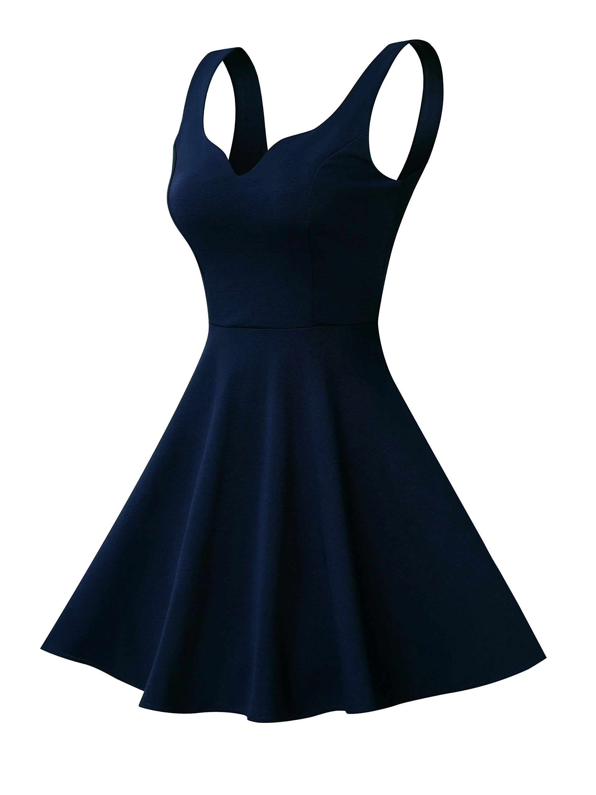 Missufe Women's Sleeveless Sweetheart Flared Mini Dress (M, 01-Navy Blue) by Missufe