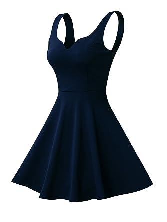 ad6ca04ad158 Missufe Women's Sleeveless Sweetheart Flared Mini Dress (XS, 01-Navy Blue)