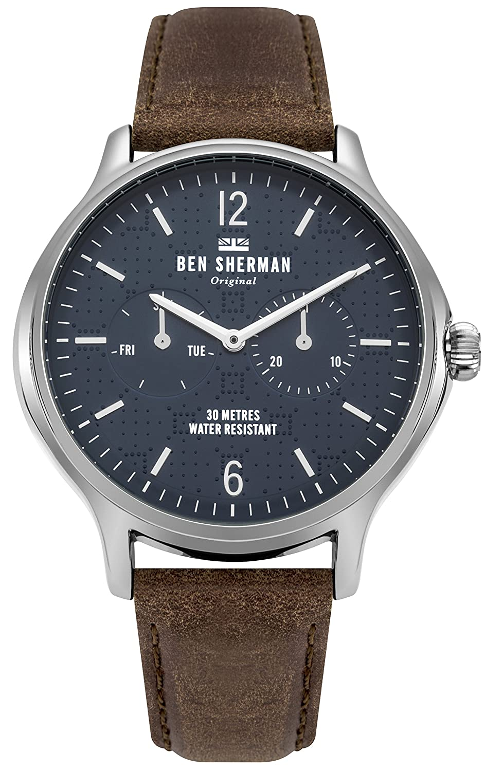 Amazon.com  Ben Sherman Men s Kensington Professional Quartz Watch with  Leather Calfskin Strap 806f11af5df