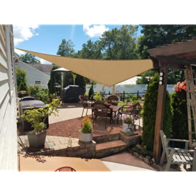 HENG FENG 12'x12'x12' Sand Triangle Sun Shade Sail UV Block for Patio Deck Yard and Outdoor : Garden & Outdoor