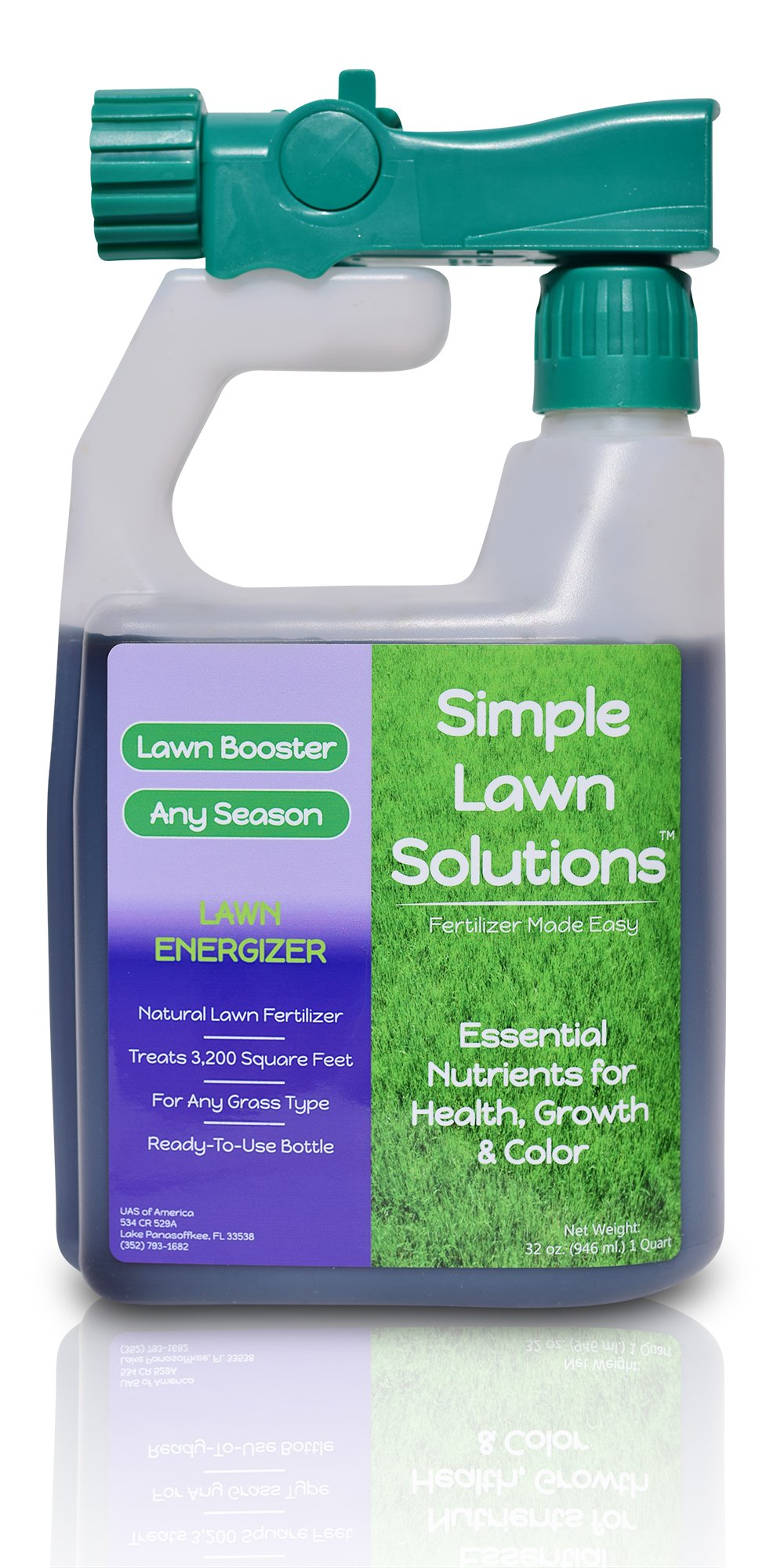 Commercial Grade Lawn Energizer- Grass Micronutrient Booster w/ Nitrogen- Natural Liquid Turf Spray Concentrated Fertilizer- Any Grass Type, All Year- Simple Lawn Solutions- 32 Ounce by Simple Lawn Solutions