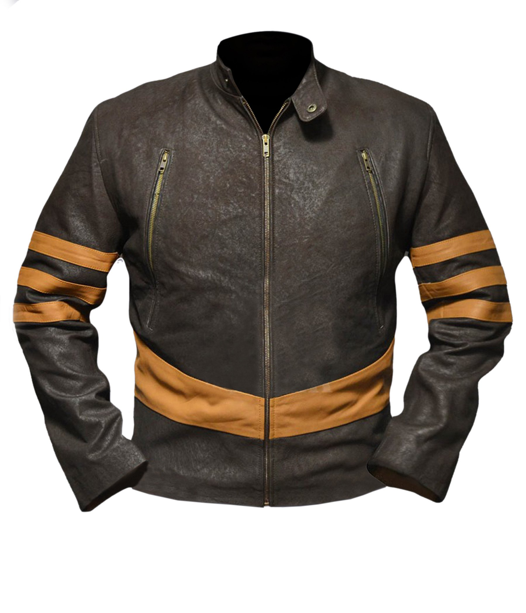 Flesh & Hide F&H Boy's X-Men Origins Wolverine Genuine Leather Jacket M Brown by Flesh & Hide