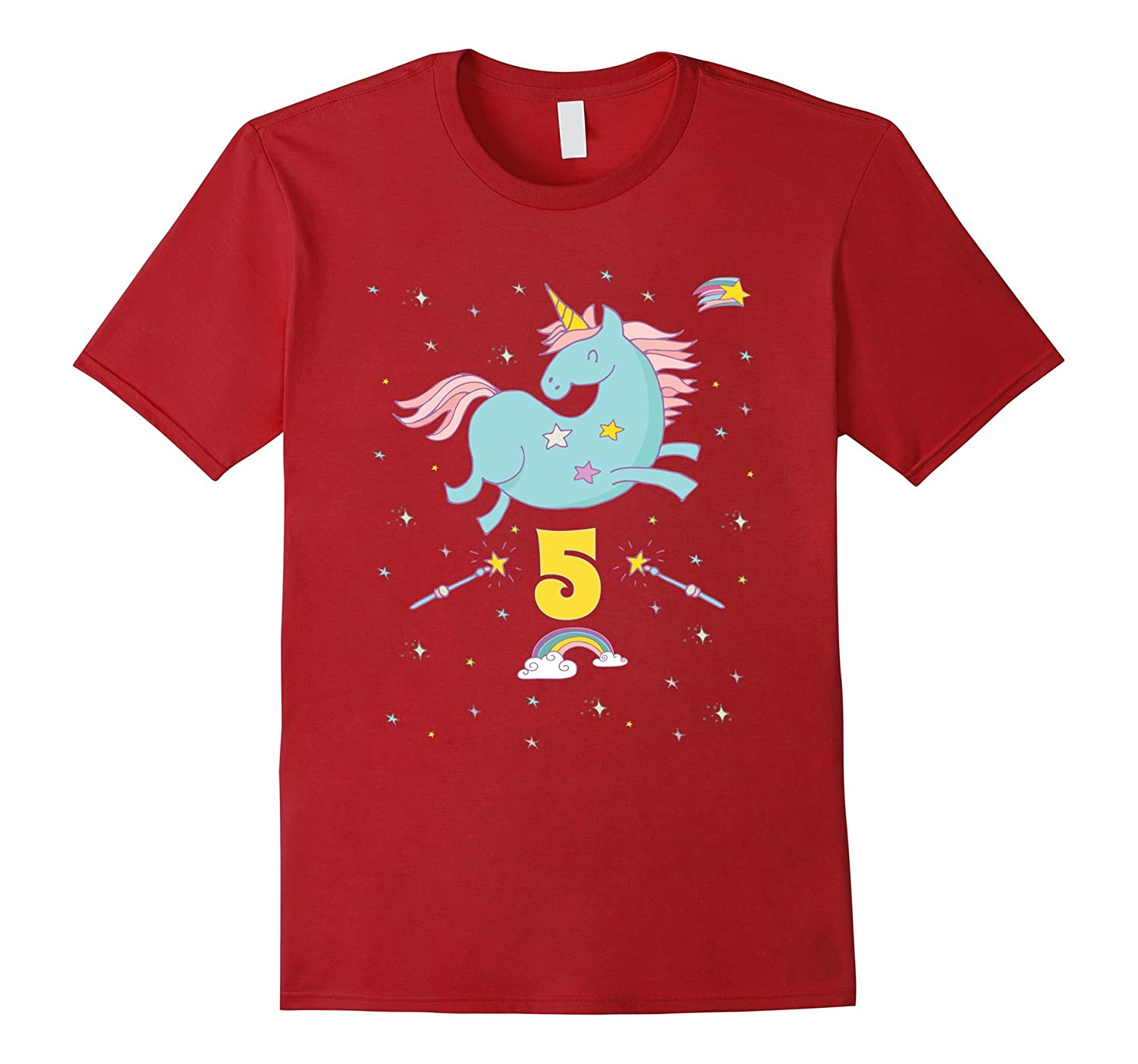 Unicorn Rainbow Birthday Shirt 5 Five Year Old Girl Boy PJ TD