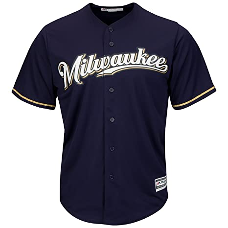 641bc586902 Milwaukee Brewers Youth Cool Base Alternate Team Jersey Navy (Youth Large  14/16)