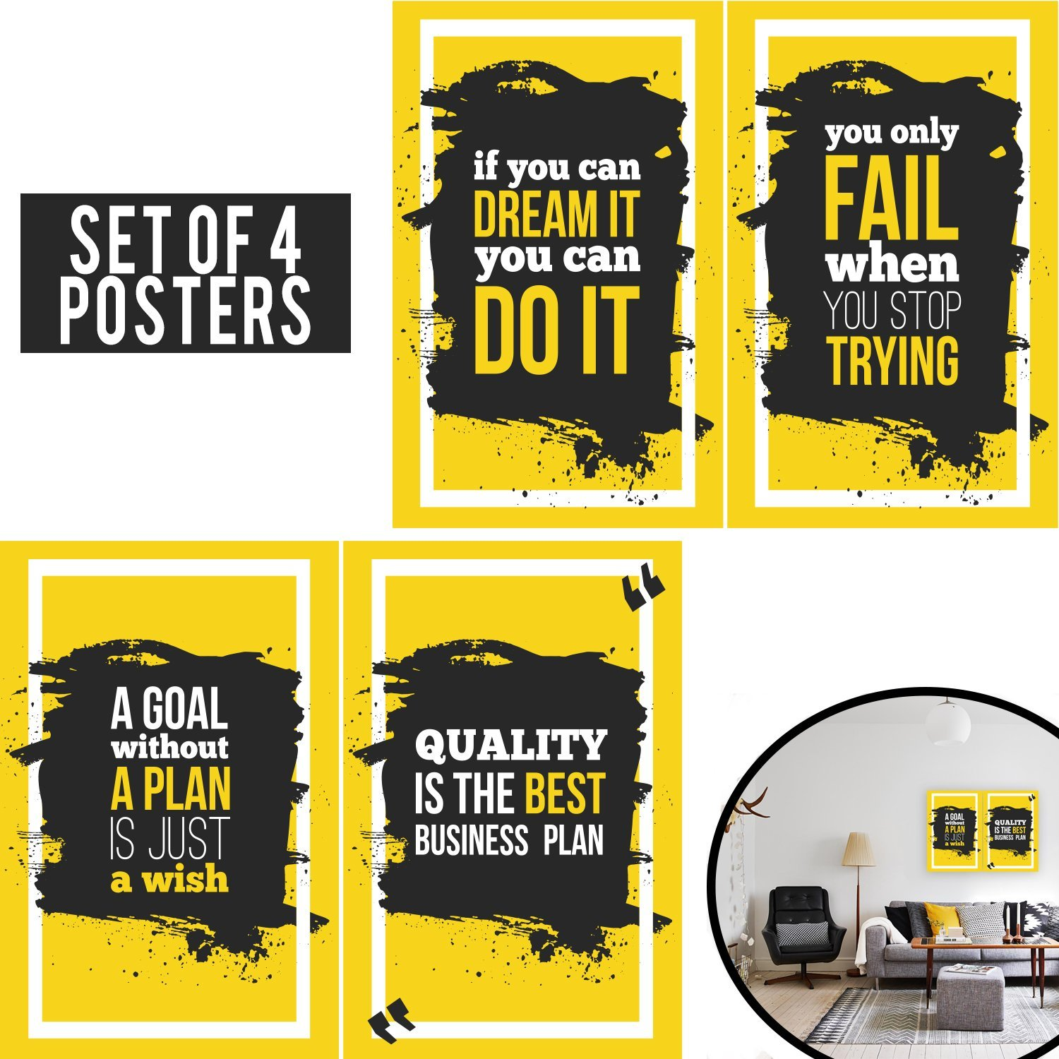 Amazon.com: Limited Edition: Yellow Posters Set of four 11x17 ...
