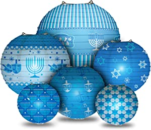 Happy Hanukkah LED Hanging Lanterns Set - Chanukah Lanterns - 6 Blue Ball Paper Lanterns with LED Lights - Hanukkah Décor