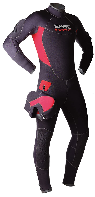 Seac s-Dry Hombre Semi seco Buceo Wetsuit, Negro/Rojo ...