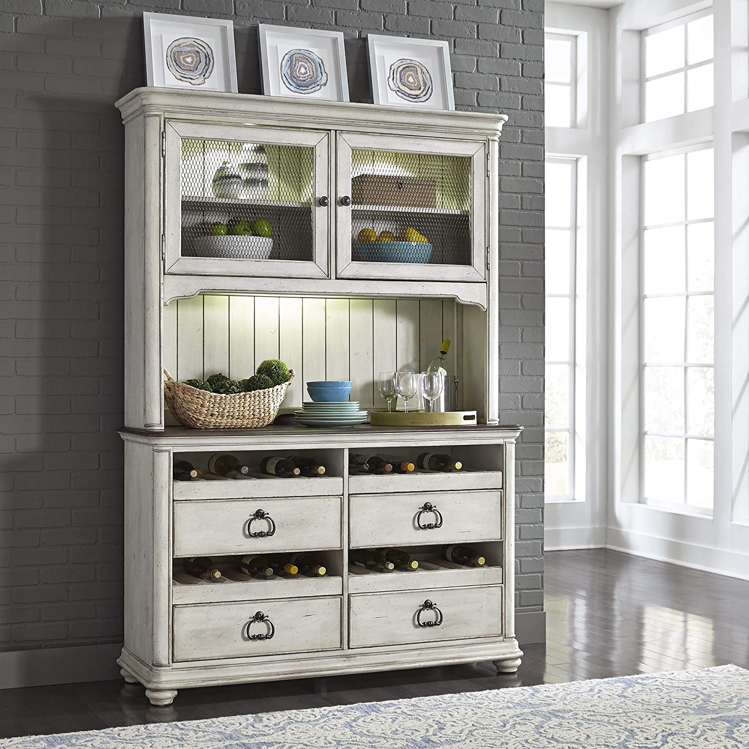 Liberty Furniture Industries Parisian Marketplace Wine Server & Hutch, W57 x D19 x H82, White