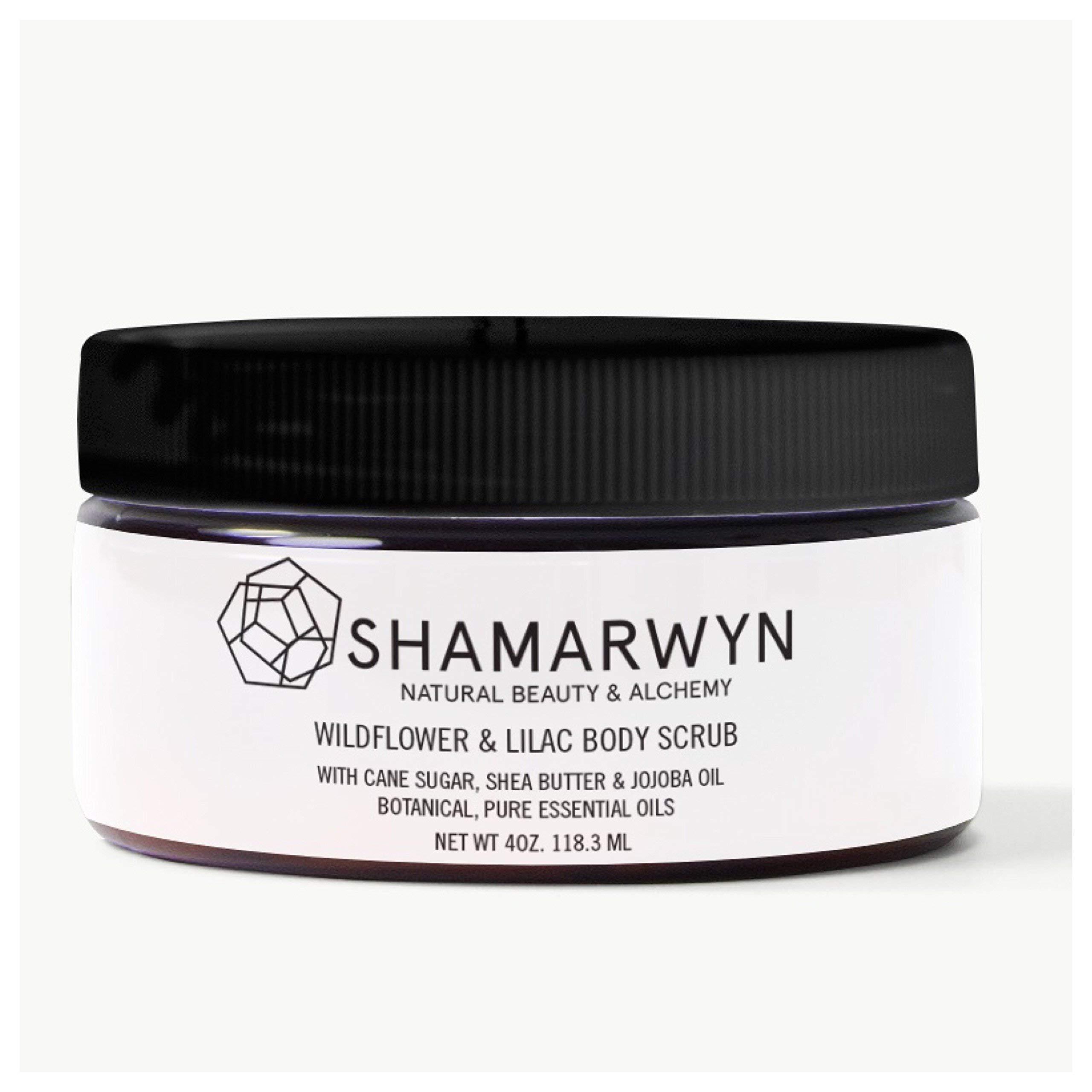 Body Scrub, Wildflower & Lilac, Natural-Organic, Cane Sugar, Shea Butter, Jojoba Oil, Exfoliator 4oz