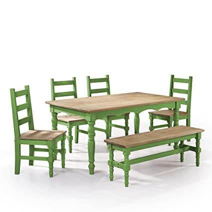 Manhattan Comfort Jay Collection Traditional Pine Wood 6 Piece Dining Set  With Trim Design, With