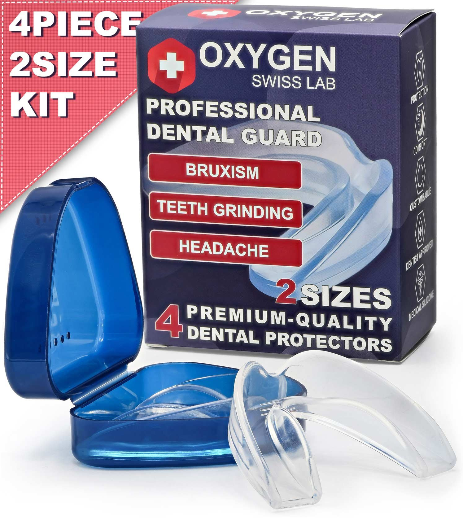 Oxygen Swiss Lab Professional Moldable Dental Guard For Teeth Grinding & Clenching, Bruxism, TMJ & Athletes – Set Of 4 Medical Silicone Mouth Night Guards In 2 Sizes With Anti-Bacterial Case