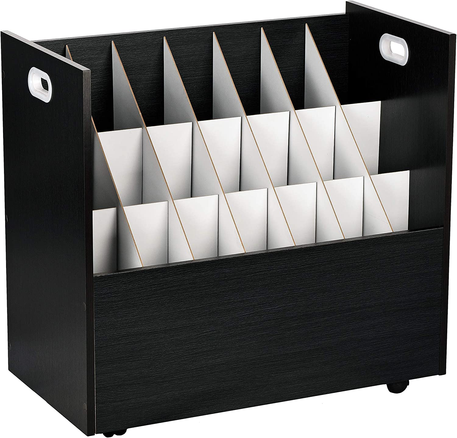 AdirOffice - 21 Slots - Mobile Wood Blueprint Roll File Holder - Architectural Plan Storage Organizer- for Home Office or School Use (Black)