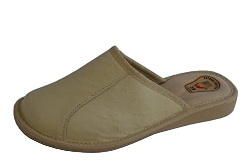 Natleat Slippers Womens Slippers Mules 33 - Zapatillas de estar por casa de Piel para mujer Negro crema SJHzlBt