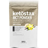 Ketostax MCT Oil Powder - 20 servings of Vanilla Cream Flavored Supercharged MCT Oil Powder with Acacia Fibre