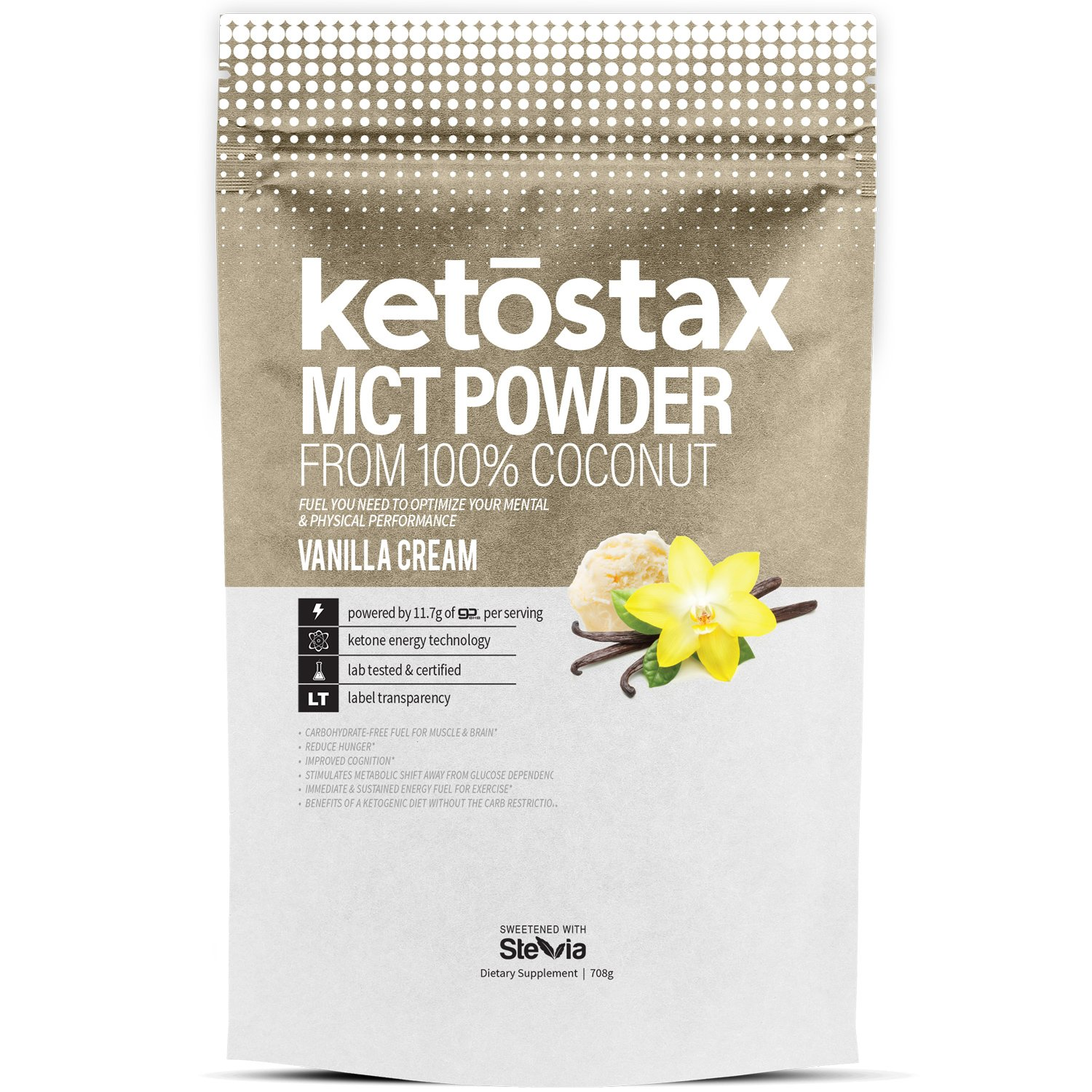 Ketostax MCT Oil Powder - 20 servings of Vanilla Cream Flavored Supercharged MCT Oil Powder with Acacia Fiber