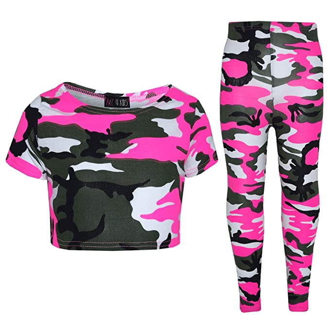 ccb6c48e3e371 Girls Tops Kids Camouflage Print Trendy Crop Top   Legging Set Age 7-13  Years