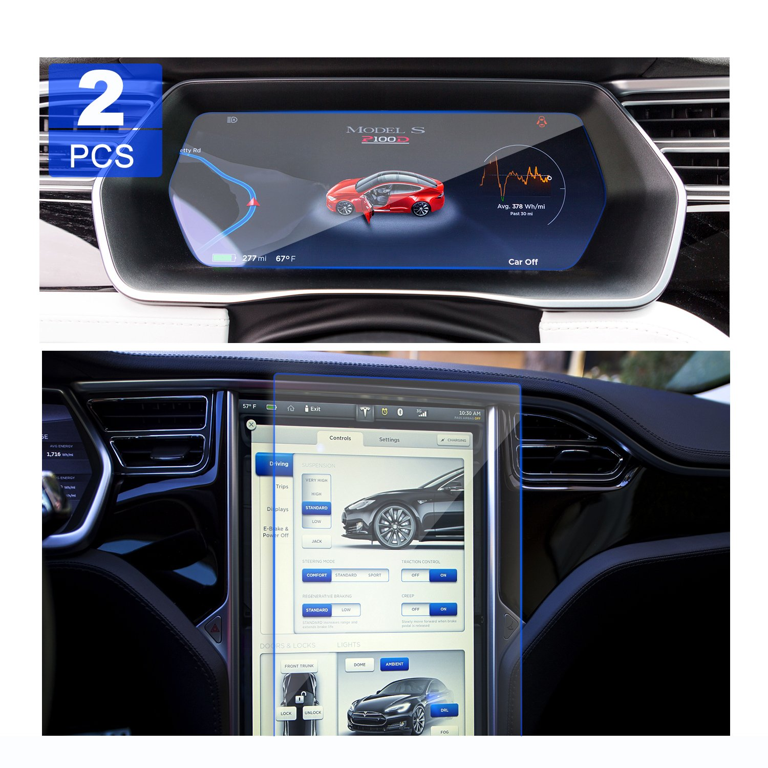 LFOTPP 2PCS GLASS Tesla Model X/Model S Car Navigation Screen Protector and Dash panel Screen Protector, 2PCS Combined Package Clear Tempered Glass Screen Protector Anti Scratch High Clarity