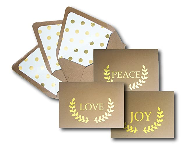 Amazon peace love joy holiday greeting card set these die peace love joy holiday greeting card set these die cut kraft card m4hsunfo