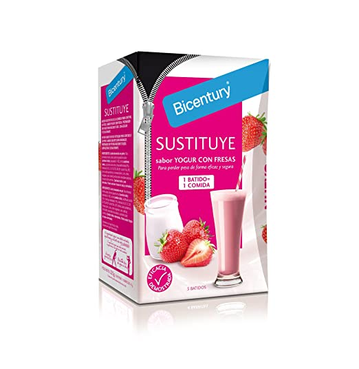 BICENTURY batido dietético de yogurt con fresas caja 5 batidos