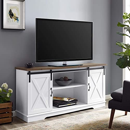 Walker Edison Modern Farmhouse Sliding Barndoor Wood Stand for TV s up to 65 Flat Screen Cabinet Door Living Room Storage Entertainment Center, 28 Inches Tall, White Reclaimed Barnwood