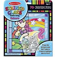 Melissa & Doug Stained Glass Made Easy Unicornio -Kit de Manualidades para hacer Vitrales - 70 Pegatinas, Marco de Madera