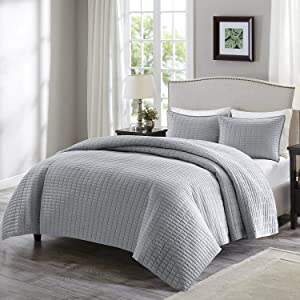 Comfort Spaces Kienna 3 Piece Quilt Coverlet Bedspread Ultra Soft Hypoallergenic Microfiber Stitched Bedding Set, King, Gray