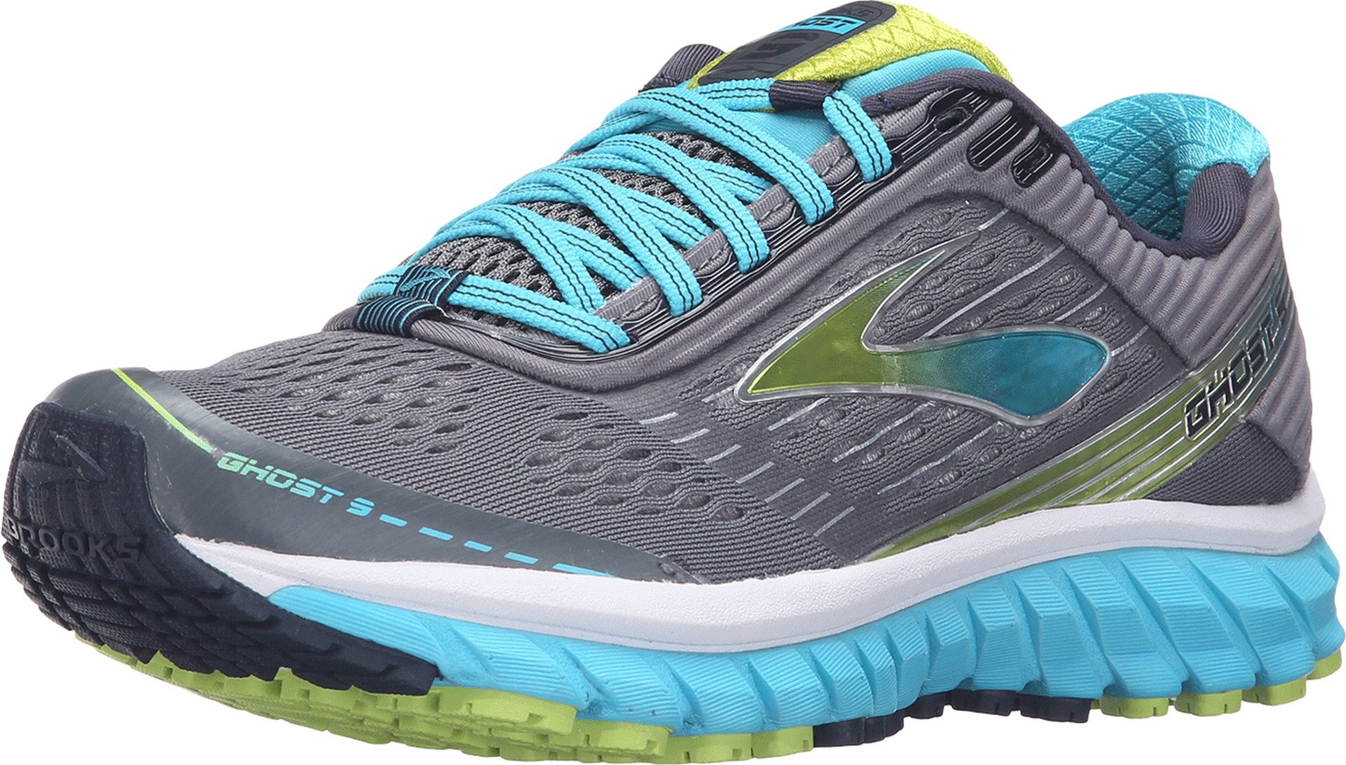 Brooks Women's Ghost 9 Silver/Blue Atoll/Lime Punch Running shoes - 9 B(M) US