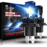 MZS H4 LED Headlight Bulbs,Wireless Instant Plug-in 9003 High Low Beam Conversion Kit Extreme Small Size Fanless Design…