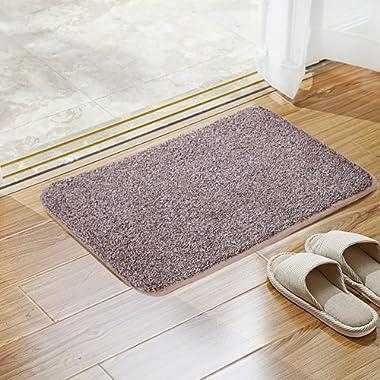 Sofhom Indoor Super Absorbent Doormat Rug, Non-Slip Front Entrance Carpet Floor Shoes Scraper Dirt Trapper Mats Machine Washable, 20 x 31.5  (Coffee)