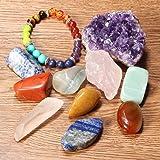 11 pcs Chakra Crystal Healing Kit,Charminer Lot of 7 Chakra Tumbles Stones,Chakra Bracelet, Amethyst Cluster, Raw Rose Quartz, and Crystal Quartz Point Bohemian Meditation Set
