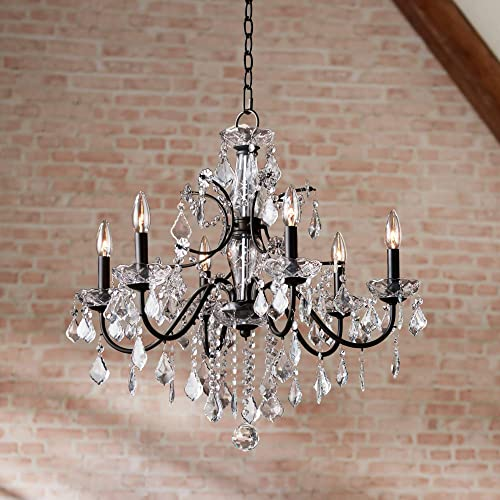 Beverly Dark Bronze Chandelier 26 Wide Clear Crystal 6-Light Fixture for Dining Room House Foyer Kitchen Island Entryway Bedroom Living Room – Vienna Full Spectrum