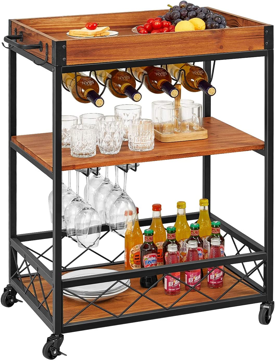 kealive Bar Cart for Home Mobile Metal Wood Wine Cart Rolling on Wheels with Handle Rack, Glass Holder, 4 Hooker Removable Wood Box Container, Rustic Bar Serving Cart, 26L x 18W x 35.4H