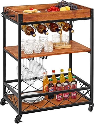 Amazon Brand Rivet Mid-Century Modern Wood and Metal 3-Tiered Kitchen Bar Cart with Wheels, 27.9 W, Natural and Gold Finish