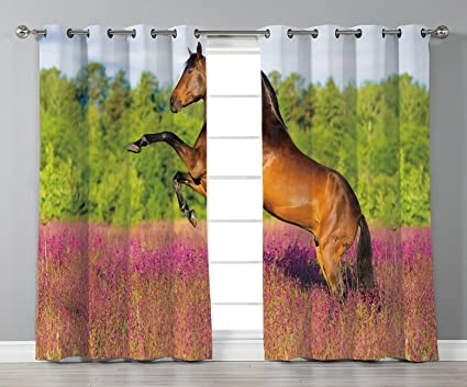 Amazon Satin Grommet Window Curtains Horse Decor Strong Bay